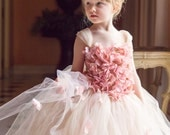 Flower girl dress Pink Champagne Dress, Pink Champagne tutu dress, flower top, hydrangea top, toddler tutu dress Cascading flowers