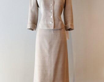Vintage 1950s Davidow Suit ~ Vintage 1950s Ladies Suit By Davidow Silk Herringbone Tailored To Perfection