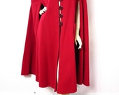 1960s Montaldo's Red Wool Vintage Cape