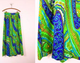 1970s Bohemian Vintage Maxi Skirt Size M