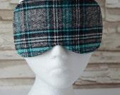 Turquoise & Gray Plaid Eye Mask for Sleep, Travel, etc. ~ READY TO SHIP