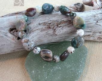 Ocean Jasper Bracelet, Beaded Stretch Bracelet, Jasper Bracelet, Multicolored Bracelet, Protective Bracelet, Gift for Her, Stone Bracelet
