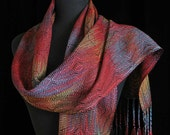 Handwoven Scarf Hand Dyed Scarf Shawl Wearable Art Scarf Long Scarf Shawl Ships Priority MAil in USA -  Southwest Sunset