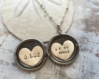 Personalized jewelry, custom name necklace, personalized locket, custom date locket, gift for her, you are my world, heart locket necklace