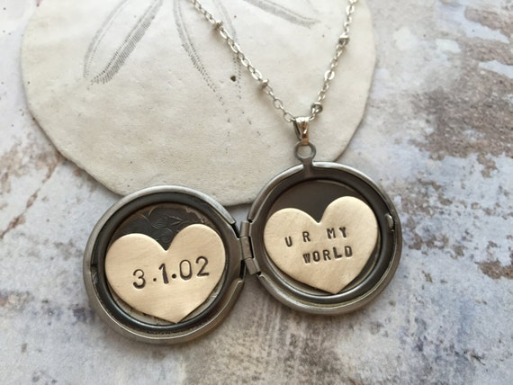 Personalized jewelry, personalized locket, initial date custom hand stamped message, you are my world, heart locket necklace