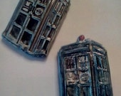 Tardis magnets set ready to ship set of 2 doctor who whovian ceramic pottery magnets fandom geekery blue tardis extra strong magnets on back