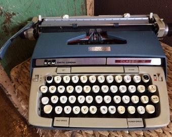Smith Corona Blue Classic 12 Working Manual Typewriter