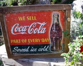 """TIN SIGN CABINET-WaLL storage-""""Coca-Cola We Sell-Part of Every Day""""-Coca-Cola BoTTLe Cap Knob-**Hanging hardware and instructions included**"""
