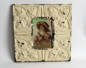 """AUTHENTIC Repurposed Tin Ceiling 4"""" x 6"""" Shabby Chic Vanilla Picture Frame Reclaimed Photo 198-16"""