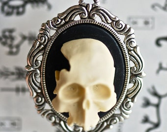 Mr. Skeletor Rococo necklace - Ivory Black Zombie Gothic Cameo  - Made in USA setting