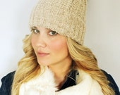 Slouchy Knit Hat with Faux Fur Pom Pom | Oatmeal and Brown Muskrat Faux Fur Winter Cap