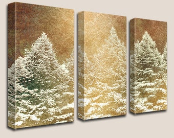 Winter Wonderland - Large Canvas Art, 3 Panels, Pine Trees, Winter, Triptych, Cold, North, Home, Office, Room Decor, READY TO HANG