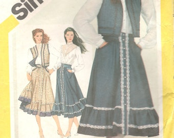 Simplicity 5191 1980s  GUNNE SAX Misses Skirt Blouse and Vest Pattern Boho Womens Vintage Sewing Pattern Size 10 Bust 32