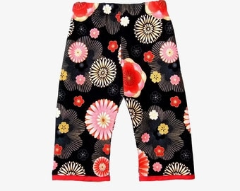Blossom -  Girls Pants -  Asian Clothes - Flower Pants -  Black and Red - Toddler Pants - Japanese Clothing - Pants - 2T - On SALE