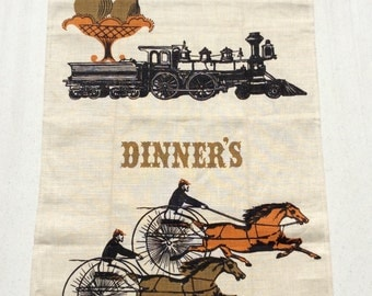 Vintage Tammis Keefe Towel Dinner's Ready Trains Manes and Automobiles