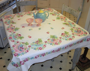 Vintage Tablecloth Colonial Couples in Pink & Aqua