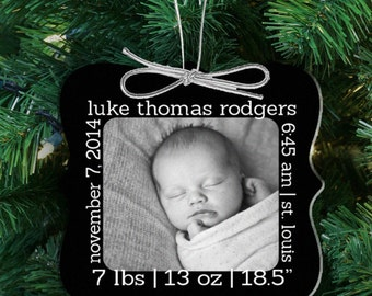 Baby's first Christmas birth statistics photo ornament - personalized photo 1st Christmas ornament FCBSO