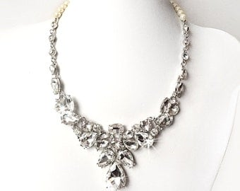 Necklace - Stunning Rhinestone Bib Necklace in Silver - Pearls - Vintage Style - Statement Bridal Necklace - Crystal Bib Necklace