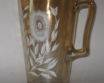Carnival Glass Pitcher Leaf Pattern Peach Lustre Jeanette Vintage