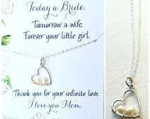Mother and child necklace, Mother of the bride gift, wedding gift for mom from bride, heart necklace, pearl necklace for mom, otis b