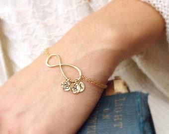 Personalized Infinity Bracelet with initials, Mothers bracelet, Gold bracelet, Family initials, sisters, Best friends bracelet