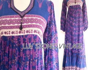 70s Rare Indian Boho Empire Goddess Hippie Cotton Gauze Festival Gypsy Maxi Dress . D148 .  XS-S .  1220.8.6.16