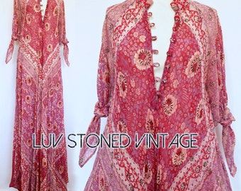 Vtg 70s Rare Adini Cotton Gauze Caftan Hippie Indian Festival Gypsy Maxi Dress . D210 . SML . 1227.9.20.16