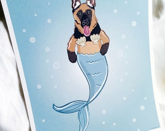 Mermaid German Shepherd - Eco-Friendly 8x10 Print