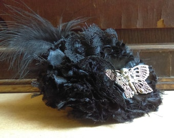 Handmade flowers gothic skull and butterfly hair clip fascinator