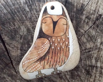 Large Drilled Beach Pottery Tile Owl