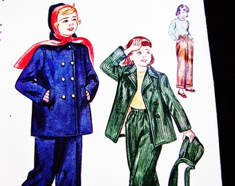 1940s Girls Coat Pattern size 8 UNCUT Girls Jacket, Hat and Pants Vintage Sewing Patterns 40s