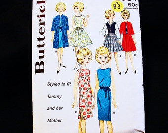 12 inch Doll Clothes Pattern Tammy Teenage Doll Wardrobe 1960s Dolls Vintage Sewing Pattern fits Tammy and her Mother