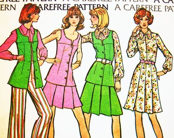 1970s Patterns size 16 Bust 38 Sleeveless Button Front Tunic Top Flared Pants Pleated Skirt Vintage Sewing Pattern UNCUT