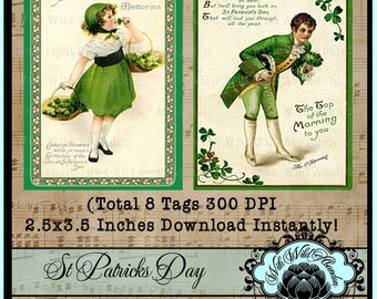 St Patrick's Day Vintage Cards, St Patty's Day Vintage Postcards, Vintage Ephemera, Vintage Printable, Vintage ACEO or ATC Card,