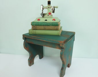 Vintage Wooden Foot Stool with Teal Blue Green Paint, Curvy Sides, Rustic, Primitive, Handmade, Sturdy