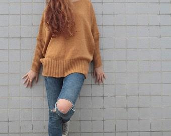 OVERSIZED Woman sweater/ Knit sweater in Mustard