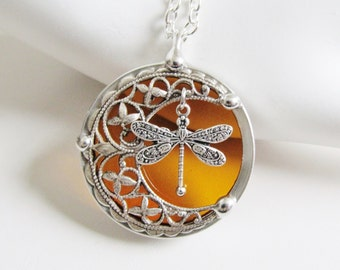 Amber Dragonfly Pendant Necklace Crescent Moon Stained Glass Jewelry