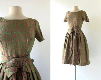 1950s Vintage Dress | Rose Garden | Damask Floral Dress | 50s Dress | XS