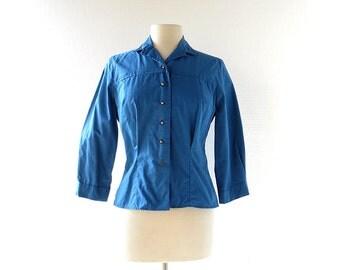 Vintage 1960s Blouse / La Mer / Blue Blouse / 60s Shirt / S M