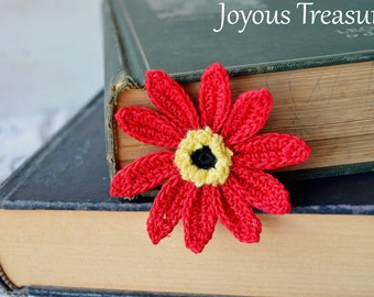 Handmade Bookmark Crochet Flower Bookmark Red Daisy Flower Cotton Bookmark, Fiber Bookmark