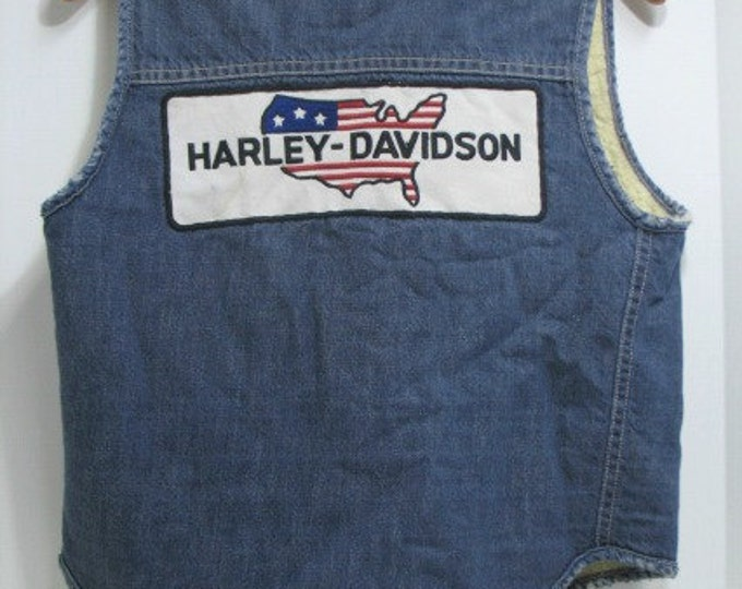 Vintage Harley Davidson Vest, Denim with Sherpa Fleece Lining, Jean Jacket Vest by Sears & Roebuck with Motorcycle Patch