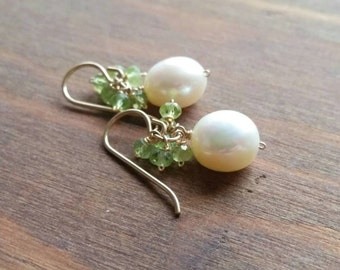 Freshwater Pearl & Peridot Cluster Earrings, 14kt Goldfilled Green White Dangle Earrings. August Birthstone, Jewelry Gifts Under 50