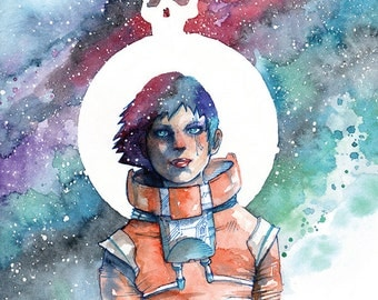"""Astronaut Art, Space Art, Science Fiction Art, Celestial Watercolor, Constellation Print - Ashes of the Sun 8.5x11"""" Print by Cody Vrosh"""