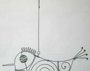 Wire Sculpture / Small Pale Green - Eyed Metal Bird