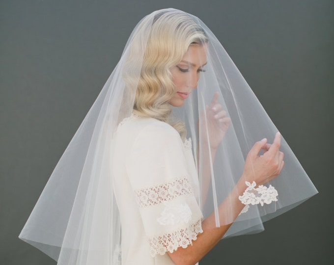 """SALE Two Tier Wedding Veil with Ivory Beaded Lace, 36 Inch with a 25"""" Blusher, Illusion Tulle Veil with Lace Appliqué and Scalloped Edge"""