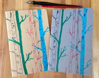 Writing Journal, Hand Painted Moleskine, Forest, Woods, Birch Trees, Large Moleskine Journal, Gift for Writer, Moleskine Notebook Journal