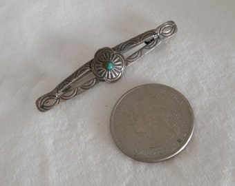 Vintage Fred Harvey Style Era Bar Pin with Turquoise, Brooch