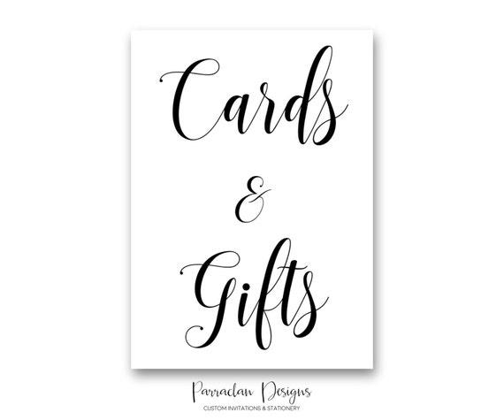 Cards and Gifts | Cards and Gifts Wedding Sign | INSTANT DOWNLOAD | Gold Wedding Signs | Wedding Sign | Black | Gold | PS01