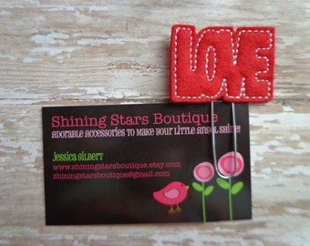 """Planner Supplies - Red And White Stitched """"Love"""" Block Letters Felt Paper Clip Or Bookmark - Valentine's Day Accessory And Planner Goodies"""