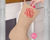 Cyber Monday / BURLAP Personalized Christmas Stocking , monogrammed christmas stocking , christmas stocking , personalized stocking